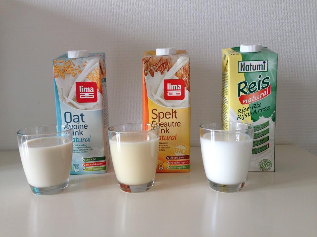 speltmelk, havermelk, rijstemelk