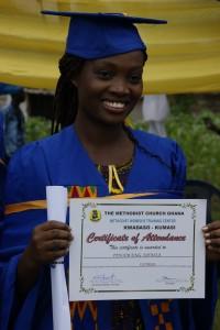 Adwoa tijdens de diploma-uitreiking